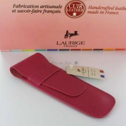 Etui Cuir Laurige® Fuschia 2 Stylos