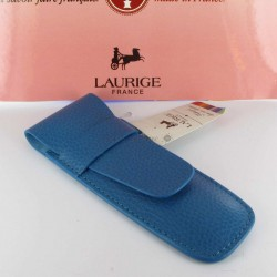 Etui Cuir Laurige® Turquoise 2 Stylos